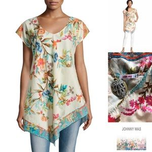 Johnny Was short sleeve print cotton tunic top